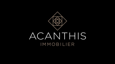 Logo Acanthis Immobilier sur fond noir