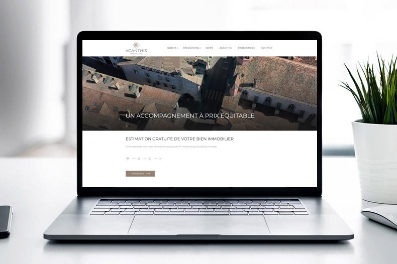 ordinateur portable avec site internet Acanthis Immobilier