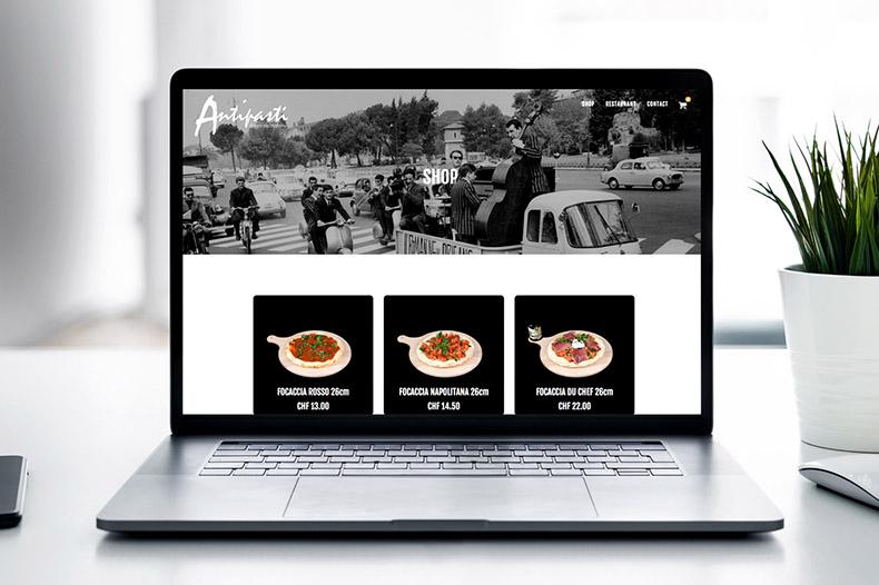 Ordinateur portable avec shop en ligne Antipasti
