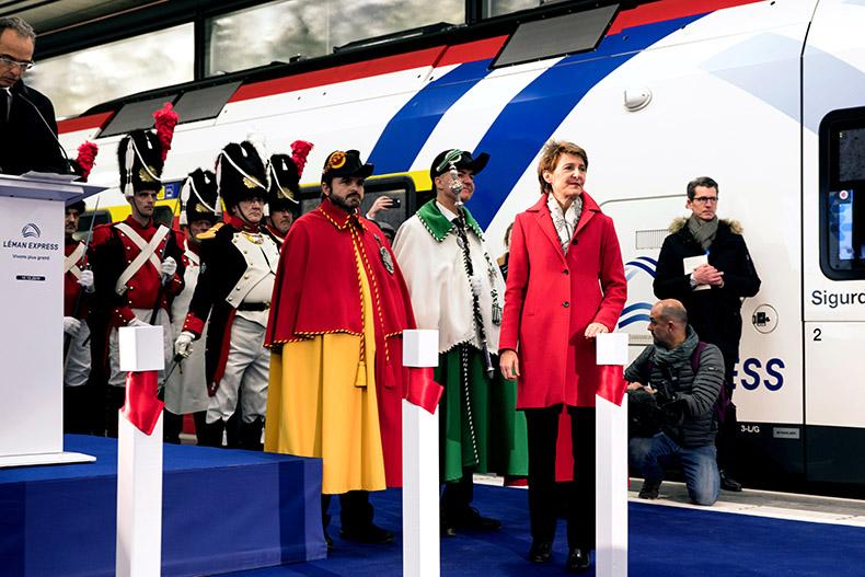 Madame Sommaruga lors de la cérémonie d'inauguration du Léman Express