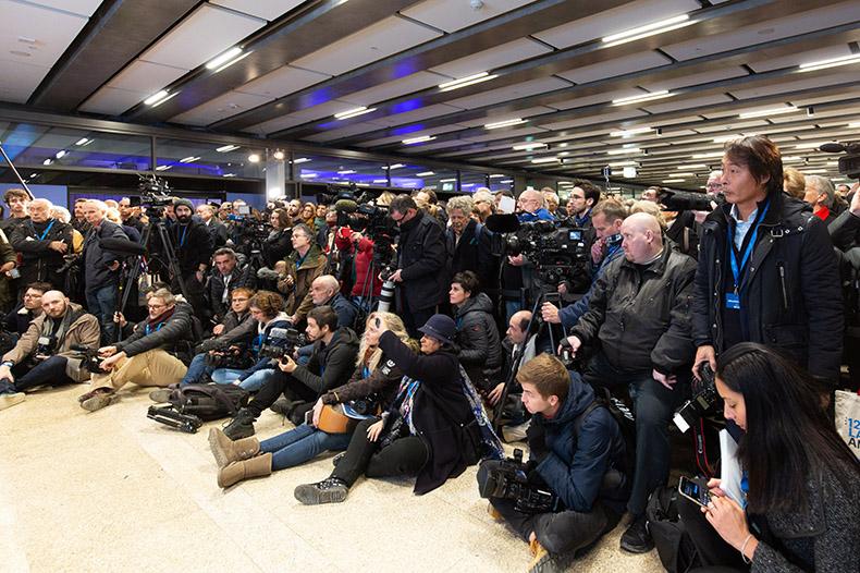 La presse lors de l'inauguration du Léman Express