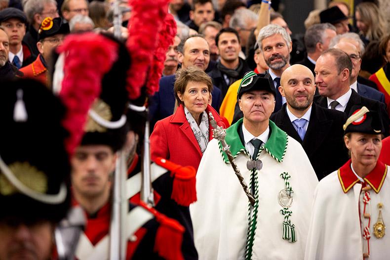 Madame Sommaruga et Monsieur Journès lors de l'inauguration du Léman Express