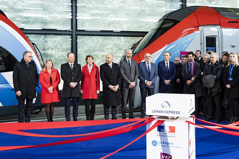Les officiels lors de l'inauguration du Léman Express
