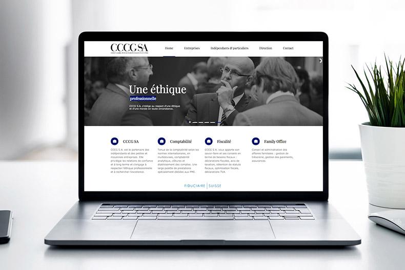 Ordinateur portable avec le site internet de la fiduciaire CCCG SA