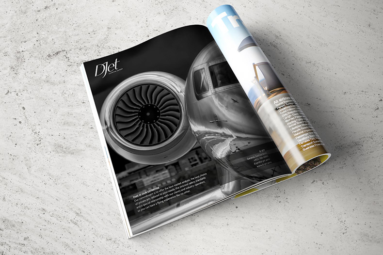 Annonce DJet charter expert dans un magazine