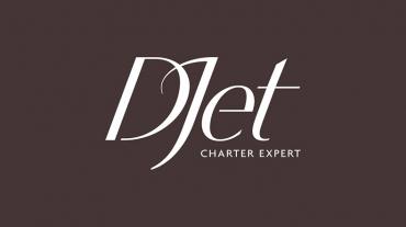 Logo DJet charter expert sur fond bordeaux