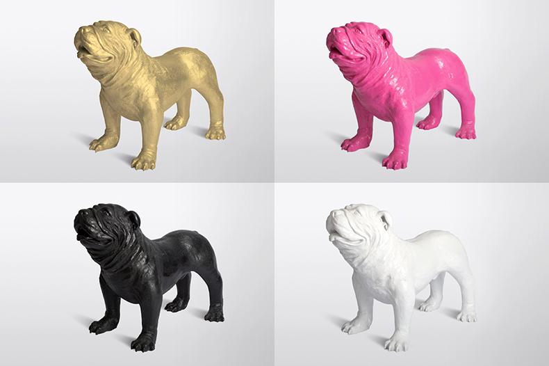 4 chiens Fabbrik en or, rose, noir et blanc
